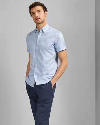 Ted Baker Embroidered Cotton Short Sleeved Shirt