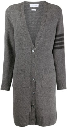 Thom Browne Long Wool-Blend Cardigan