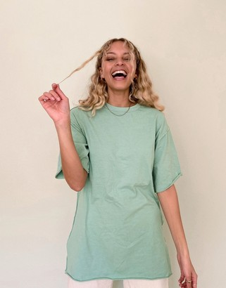 Asos DESIGN super oversized t-shirt with exposed seams in washed sage
