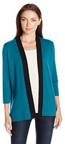 Sag Harbor Women's Full Needle Color Block Cardigan Sweater