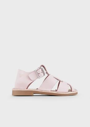 Emporio Armani Sandals In Vachetta Leather