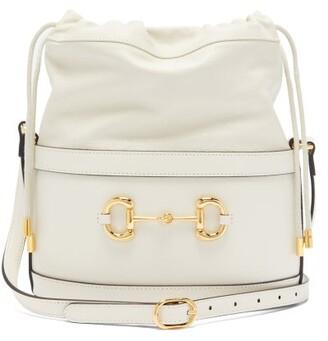 Gucci 1955 Horsebit Drawstring Leather Bucket Bag - White