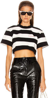 Alexander Wang Chynatown Stripped Cropped Tee in Black & White | FWRD