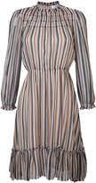 Derek Lam 10 Crosby gathered detail striped dress - women - Silk - 0