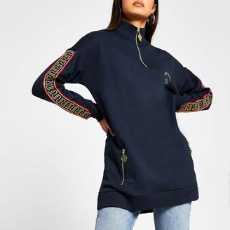 River Island Womens Navy long sleeve oversized RI zip sweatshirt