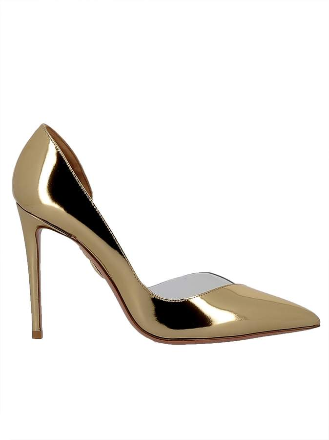 Aquazzura Gold Pvc Pumps