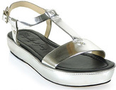 Elizabeth and James Cree - Low Wedge Leather Sandal in Silver