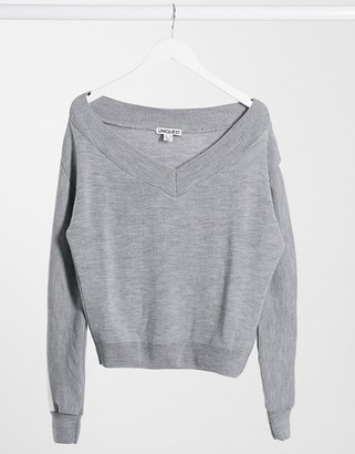 UNIQUE21 sporty stripe knitted sweater in gray