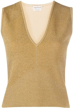 Alexander McQueen Metallic-Thread Knitted Top