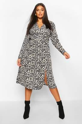 boohoo Plus Leopard Shirt Midi Dress