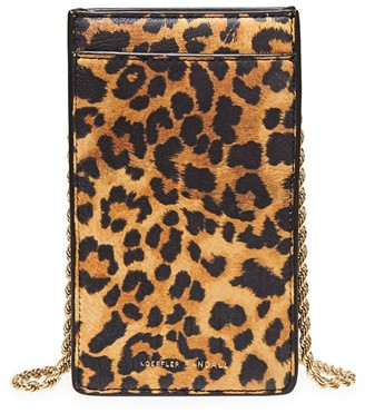 Loeffler Randall Augusta Leopard-Print Leather Crossbody Phone Pouch
