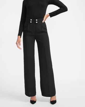 Express Super High Waisted Crystal Embellished Button Wide Leg Pant
