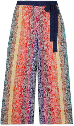 Mary Katrantzou Rego Glittered Jacquard-knit Wide-leg Pants