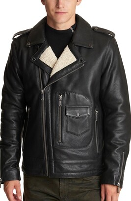 Karl Lagerfeld Paris Asymmetrical Leather Moto Jacket with Faux Shearling Lining
