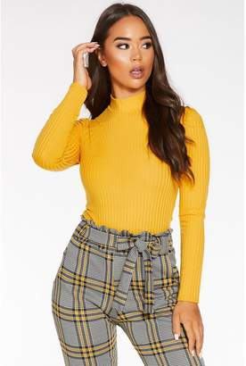 Quiz Mustard Knit Ribbed Turtle Neck Top