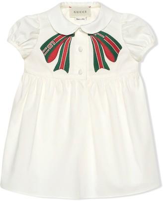 Gucci Kids Striped Bow Poplin Dress