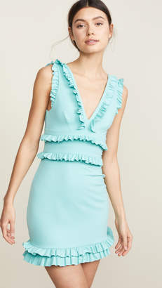 Susana Monaco Sleeveless Plunge Ruffle Dress