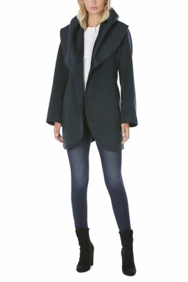 T Tahari Women's Double Face Wrap Coat with Oversized Collar