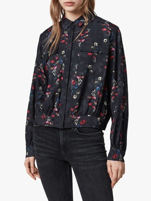 AllSaints Adeliza Floral Print Button Front Shirt, Black
