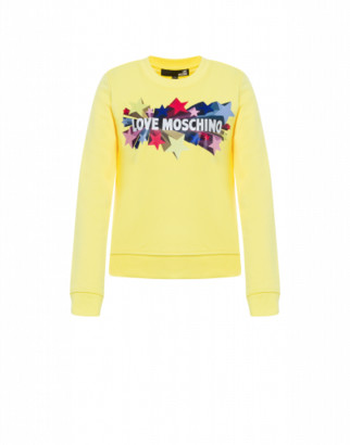Love Moschino Glitter Stars Shiny Sweatshirt Woman Yellow Size 38 It - (4 Us)