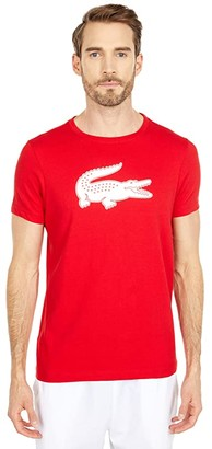 Lacoste Short Sleeve Solid Color Crocodile Logo Tee (Navy Blue/Wasp) Men's Clothing