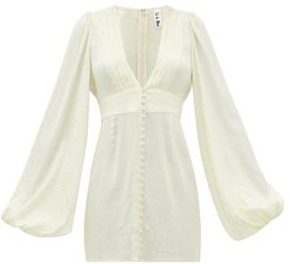 Rat & Boa - Balloon-sleeve Satin-jacquard Mini Dress - Ivory