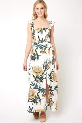 Zhu ZHU Estella Ruffle Strap Floral Dress Whtm XS