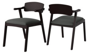 Handy Living Millie Mid Century Modern Espresso Dining Arm Chair with Wood Seat Back Set of 2