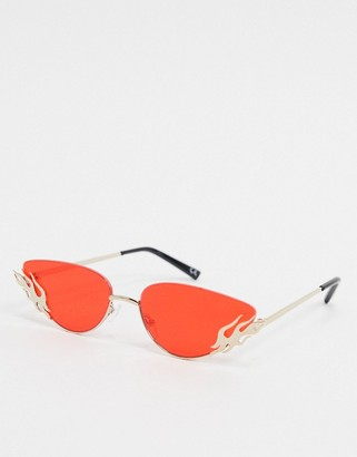 ASOS DESIGN mini rimless sunglasses in gold with flame detail and red lens