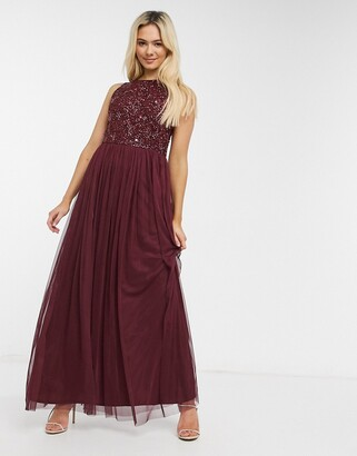 Lace & Beads sleeveless embellished maxi dress in burgundy