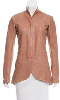 Veda Rib Knit-Accented Leather Jacket