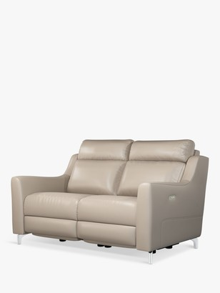John Lewis & Partners Elevate Medium 2 Seater Power Recliner Leather Sofa, Metal Leg