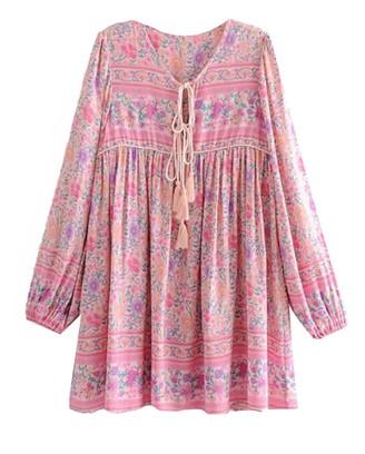 Goodnight Macaroon 'Sherry' Bohemian Print Pink Tassel Dress