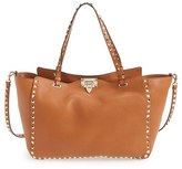 Valentino 'Rockstud' Grained Calfskin Leather Tote - Brown