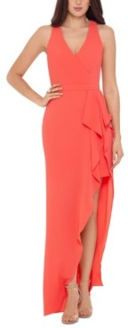 Xscape Evenings V-Neck Ruffle-Front Gown