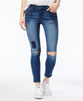 Rewash Juniors' Embroidered Ripped Super Skinny Jeans
