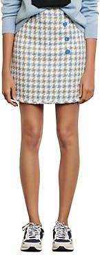 Sandro Calia Button Detail Houndstooth Mini Skirt