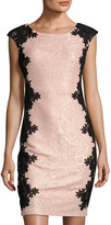 Jax Cap-Sleeve Lace-Trim Sheath Dress, Blush