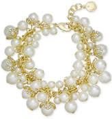 Charter Club Gold-Tone Imitation Pearl & Pave Charm Bracelet, Created for Macy's