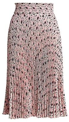 Prada Leaf-Print Pleated Midi Skirt