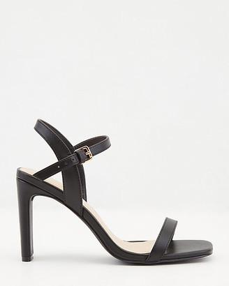 Le Château Faux Leather Ankle Strap Square Toe Sandal