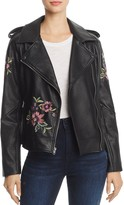 BB Dakota Baxley Embroidered Faux Leather Moto Jacket