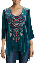 Johnny Was Lorne 3/4-Sleeve Embroidered Velvet Top, Plus Size
