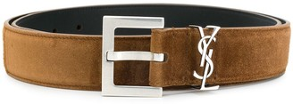 Saint Laurent Monogram suede belt