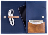 Bey-Berk Monogram Travel Charger Case and Accessories Pouch