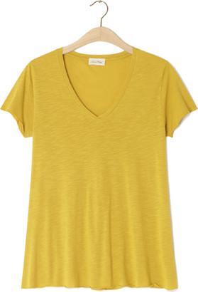 American Vintage Jacksonville V Neck Mustard T Shirt - X Small