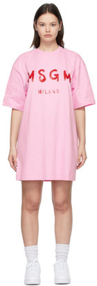 MSGM Pink Brushed Logo Dress