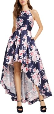 Speechless Juniors' Floral-Print Mikado High-Low Dress