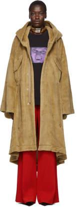 Undercover Beige Wool Fleece Hooded Coat