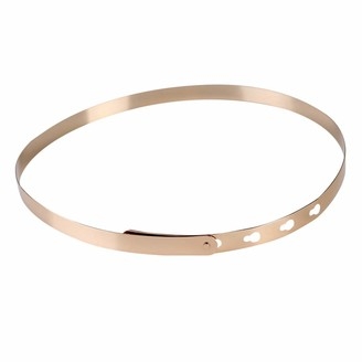 Ipotch Fashionable Women Lady Adjustable Metal Waist Belt Metallic Bling Plate Slim Mirror Band Clothes Props - Gold 82 x 3 cm